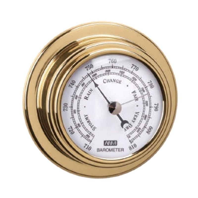70mm polished brass barometer